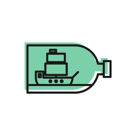 Black line Glass bottle with ship inside icon isolated on white background. Miniature model of marine vessel. Hobby and sea theme.  Vector Illustration Stock Illustratie
