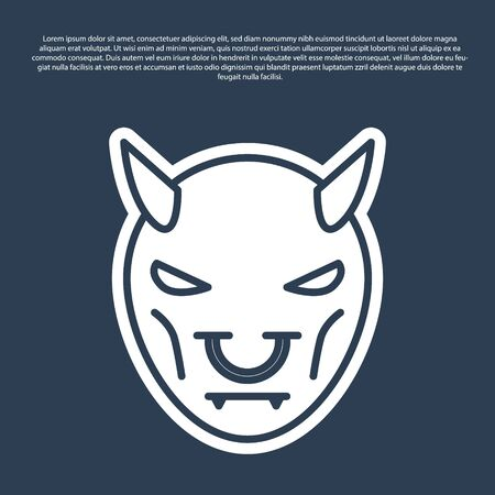 Blue line Mask of the devil with horns icon isolated on blue background. Vector Illustration