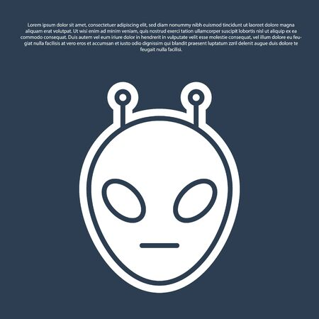 Blue line Alien icon isolated on blue background. Extraterrestrial alien face or head symbol. Vector Illustration Illustration