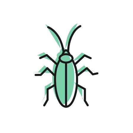 Black line Cockroach icon isolated on white background. Vector Illustration Illustration