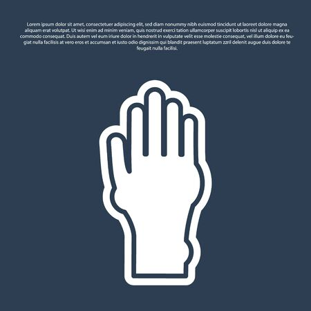 Blue line Hand with psoriasis or eczema icon isolated on blue background. Concept of human skin response to allergen or chronic body problem. Vector Illustration