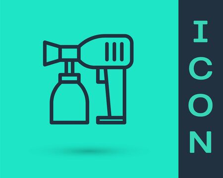 Black line Paint spray gun icon isolated on green background. Vector Illustration
