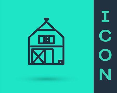 Black line Farm House concept icon isolated on green background. Rustic farm landscape. Vector Illustration Stock Illustratie