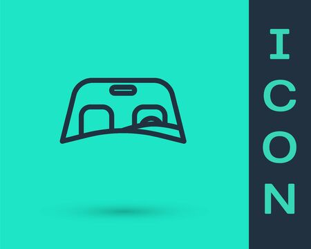 Black line Car windscreen icon isolated on green background. Vector Illustration Illustration