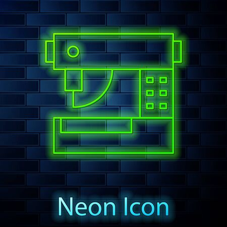 Glowing neon line Sewing machine icon isolated on brick wall background. Vector Illustration