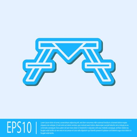 Blue line Picnic table with benches on either side of the table icon isolated on grey background. Vector Illustration