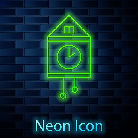 Glowing neon line Retro wall watch icon isolated on brick wall background. Cuckoo clock sign. Antique pendulum clock. Vector Illustration Ilustracja