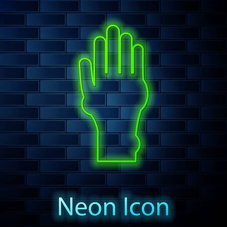 Glowing neon line Hand with psoriasis or eczema icon isolated on brick wall background. Concept of human skin response to allergen or chronic body problem. Vector Illustration