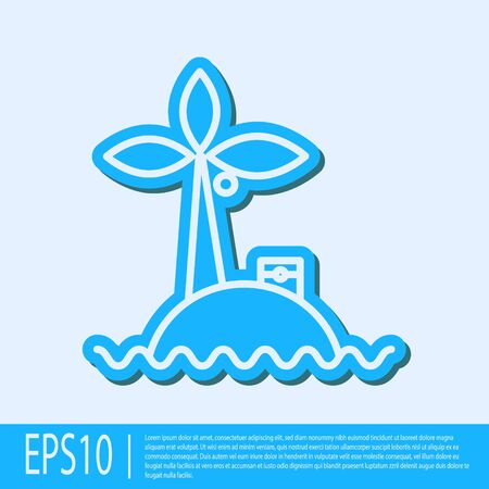 Blue line Tropical island in ocean icon isolated on grey background. Landscape with ocean and palm trees. Travel. Vector Illustration