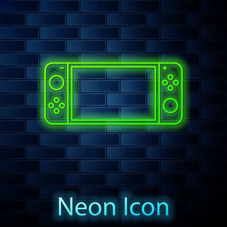 Glowing neon line Portable video game console icon isolated on brick wall background. Gamepad sign. Gaming concept. Vector Illustration