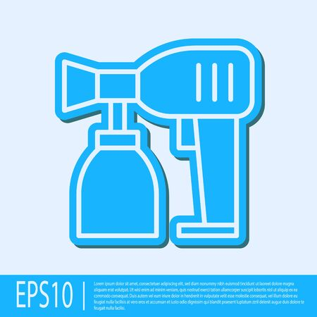 Blue line Paint spray gun icon isolated on grey background. Vector Illustration
