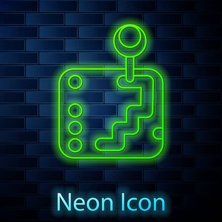 Glowing neon line Gear shifter icon isolated on brick wall background. Transmission icon. Vector Illustration