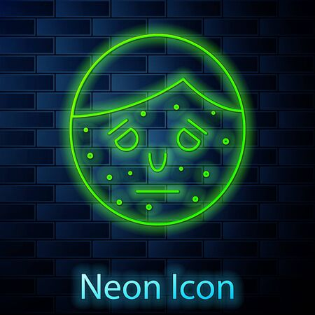 Glowing neon line Face with psoriasis or eczema icon isolated on brick wall background. Concept of human skin response to allergen or chronic body problem. Vector Illustration Vektorové ilustrace