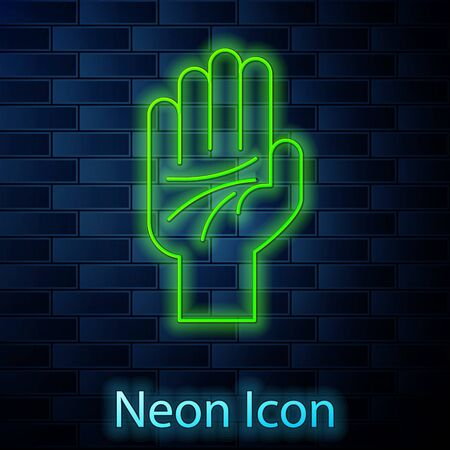 Glowing neon line Palmistry of the hand icon isolated on brick wall background. Vector Illustration Illustration