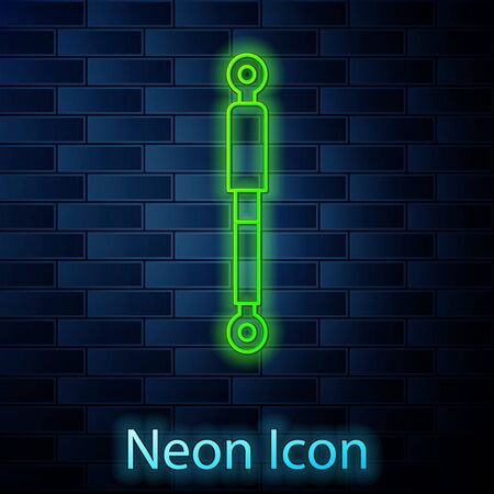 Glowing neon line Shock absorber icon isolated on brick wall background. Vector Illustration Illustration