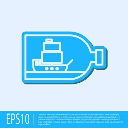 Blue line Glass bottle with ship inside icon isolated on grey background. Miniature model of marine vessel. Hobby and sea theme. Vector Illustration Stock Illustratie