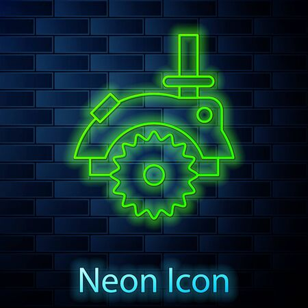 Glowing neon line Electric circular saw with steel toothed disc icon isolated on brick wall background. Electric hand tool for cutting wood or metal. Vector Illustration