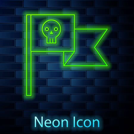 Glowing neon line Pirate flag with skull icon isolated on brick wall background. Vector Illustration 向量圖像