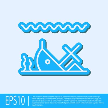 Blue line Sunken ship at the bottom of the sea icon isolated on grey background. Vector Illustration Vectores