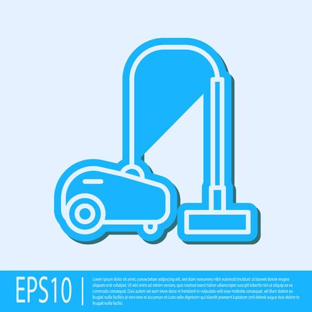 Blue line Vacuum cleaner icon isolated on grey background. Vector Illustration