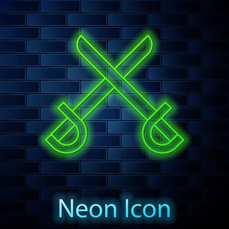 Glowing neon line Crossed pirate swords icon isolated on brick wall background. Sabre sign. Vector Illustration