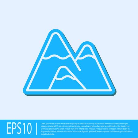Blue line Mountains icon isolated on grey background. Symbol of victory or success concept. Vector Illustration