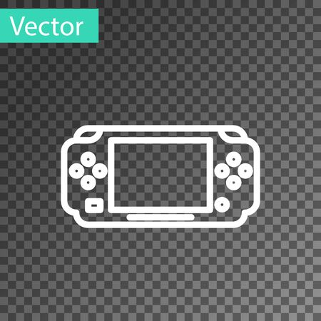 White line Portable video game console icon isolated on transparent background. Gamepad sign. Gaming concept. Vector Illustration