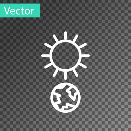 White line Solstice icon isolated on transparent background. Vector Illustration Stock Illustratie