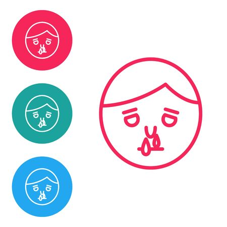 Red line Runny nose icon isolated on white background. Rhinitis symptoms, treatment. Nose and sneezing. Nasal diseases. Set icons in circle buttons. Vector Illustration