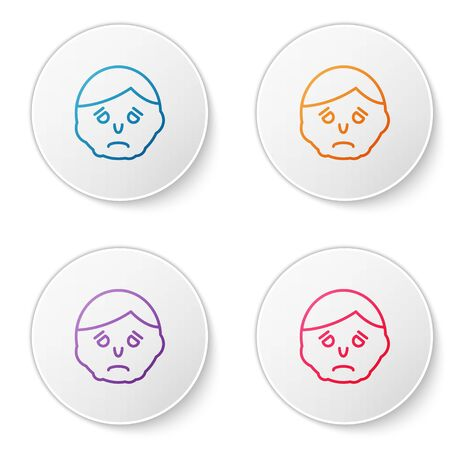 Color line Inflammation on face icon isolated on white background. Set icons in circle buttons. Vector Illustration