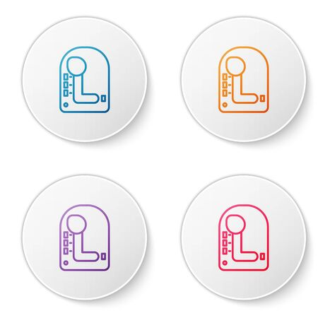 Color line Gear shifter icon isolated on white background. Transmission icon. Set icons in circle buttons. Vector Illustration Illustration