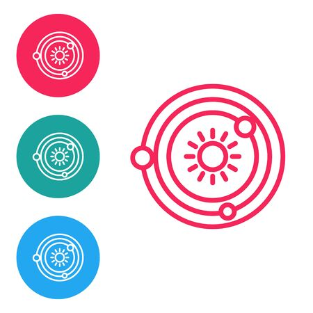 Red line Solar system icon isolated on white background. The planets revolve around the star. Set icons in circle buttons. Vector Illustration