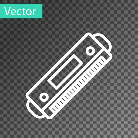 White line Harmonica icon isolated on transparent background. Musical instrument. Vector Illustration