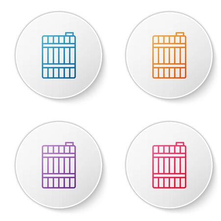 Color line Wooden barrel icon isolated on white background. Alcohol barrel, drink container, wooden keg for beer, whiskey, wine. Set icons in circle buttons. Vector Illustration Vectores