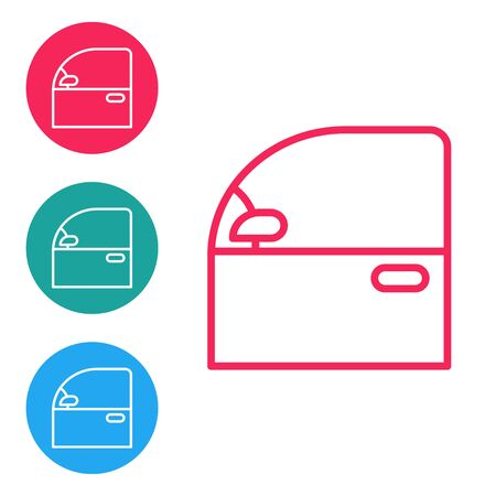 Linea rossa Icona della portiera dell'auto isolata su priorità bassa bianca. Imposta le icone nei pulsanti circolari Vettoriali