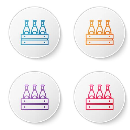 Color line Pack of beer bottles icon isolated on white background. Wooden box and beer bottles. Case crate beer box sign. Set icons in circle buttons. Vector Illustration Illustration
