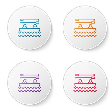 Color line Boat with oars and people icon isolated on white background. Water sports, extreme sports, holiday, vacation, team building. Set icons in circle buttons. Vector Illustration Illustration