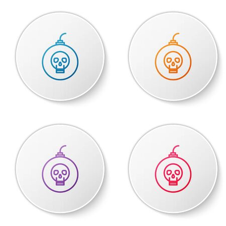 Color line Bomb ready to explode icon isolated on white background. Happy Halloween party. Set icons in circle buttons. Vector Illustration