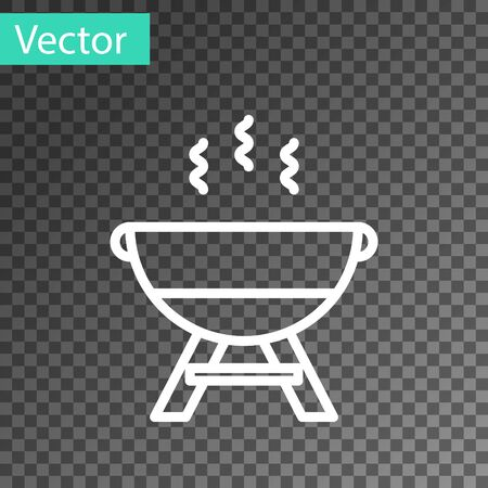 White line Barbecue grill icon isolated on transparent background. BBQ grill party. Vector Illustration