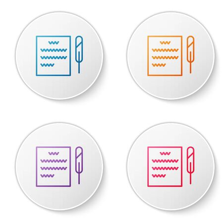 Color line Feather pen and paper scroll icon isolated on white background. Set icons in circle buttons. Vector Illustration 向量圖像