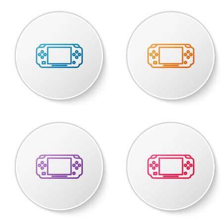 Color line Portable video game console icon isolated on white background. Gamepad sign. Gaming concept. Set icons in circle buttons. Vector Illustration