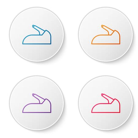 Color line Car handbrake icon isolated on white background. Parking brake lever. Set icons in circle buttons. Vector Illustration 向量圖像
