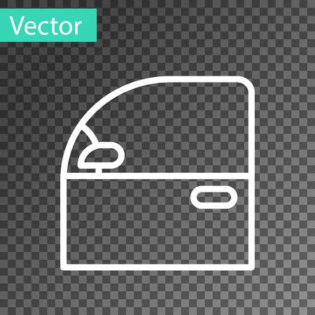 White line Car door icon isolated on transparent background. Vector Illustration