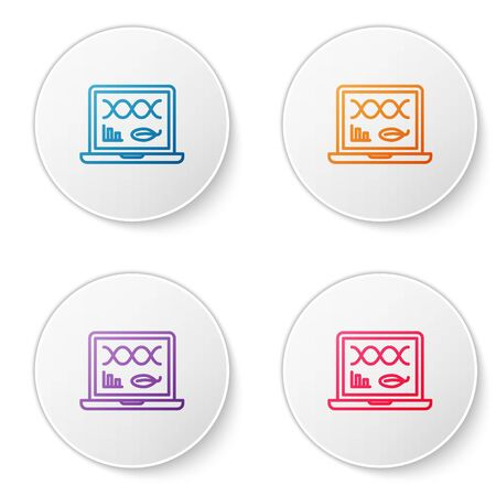 Color line Genetic engineering modification on laptop icon isolated on white background. DNA analysis, genetics testing, cloning. Set icons in circle buttons. Vector Illustration