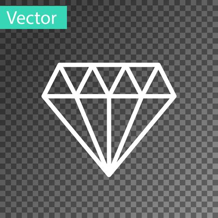 White line Diamond icon isolated on transparent background. Jewelry symbol. Gem stone. Vector Illustration