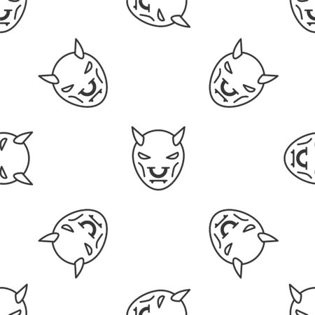 Grey line Mask of the devil with horns icon isolated seamless pattern on white background. Vector Illustration
