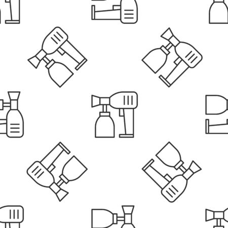 Grey line Paint spray gun icon isolated seamless pattern on white background. Vector Illustration