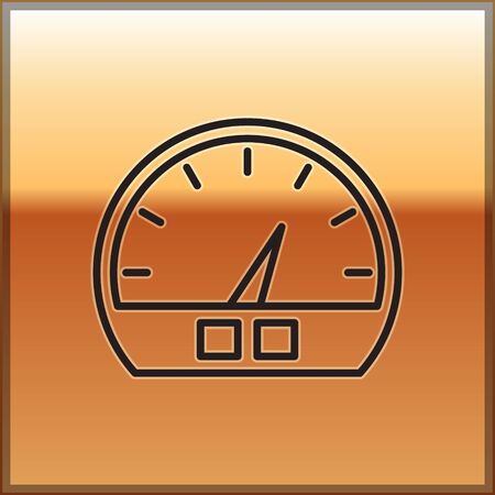 Black line Speedometer icon isolated on gold background. Vector Illustration