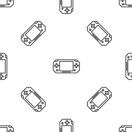 Grey line Portable video game console icon isolated seamless pattern on white background. Gamepad sign. Gaming concept. Vector Illustration 矢量图像
