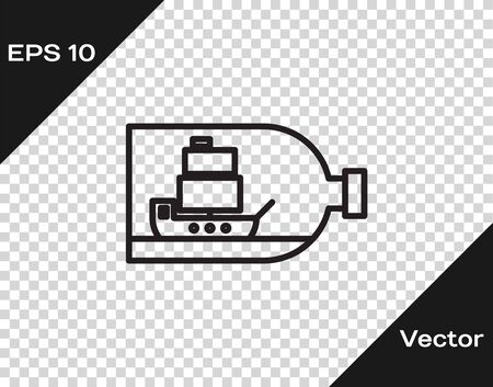 Black line Glass bottle with ship inside icon isolated on transparent background. Miniature model of marine vessel. Hobby and sea theme. Vector Illustration